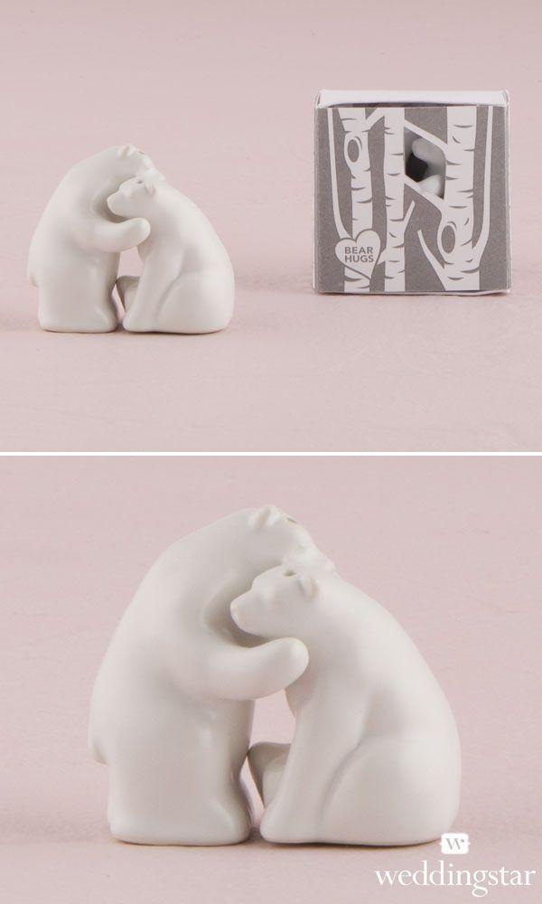 Interlocking Bear Hug Miniature Salt and Pepper Shakers. http://www.weddingstar.com/product/interlocking-bear-hug-miniature-salt-and-pepper-shakers-with-gift-packaging {wedding favor, wedding favour, gift, love, Valentines, present, wedding guest, white and pink, woodland, bears}