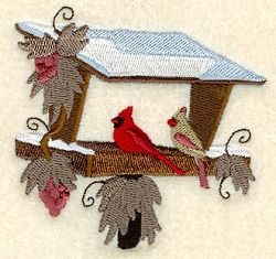 Cardinals on Birdfeeder with Vines - 4x4 | Winter | Machine Embroidery Designs | SWAKembroidery.com Starbird Stock Designs