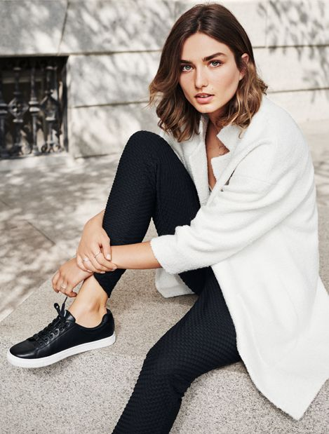 Take to the streets in black faux leather sneakers. | H&M Shoes