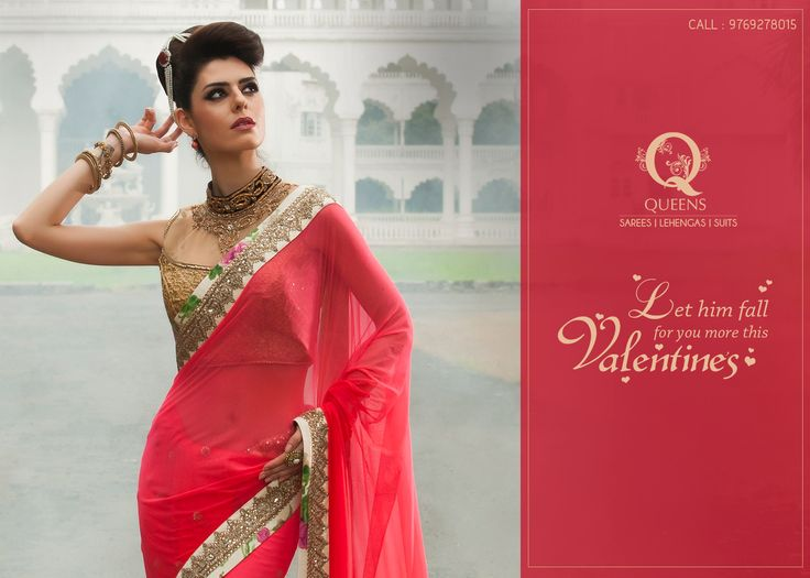 Let your gorgeous Saree make him fall for you more this Valentine's day. ‪#‎QueensEmporium‬ ‪#‎Sarees‬ ‪#‎Valentinesday‬