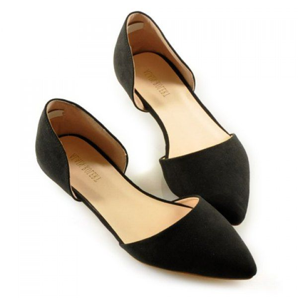 Simple Solid Color and Stitching Design Flat Shoes For Women, BLACK, 39 in Flats | DressLily.com