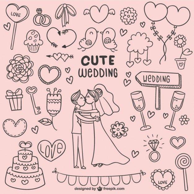 Dibujitos lindos de boda Vector Gratis                                                                                                                                                                                 Más