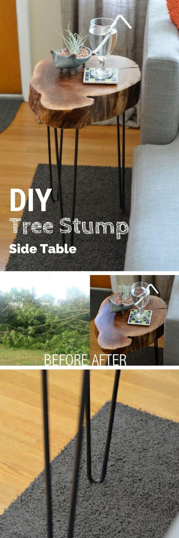 Check out the tutorial on how to build a DIY tree stump side table @istandarddesign