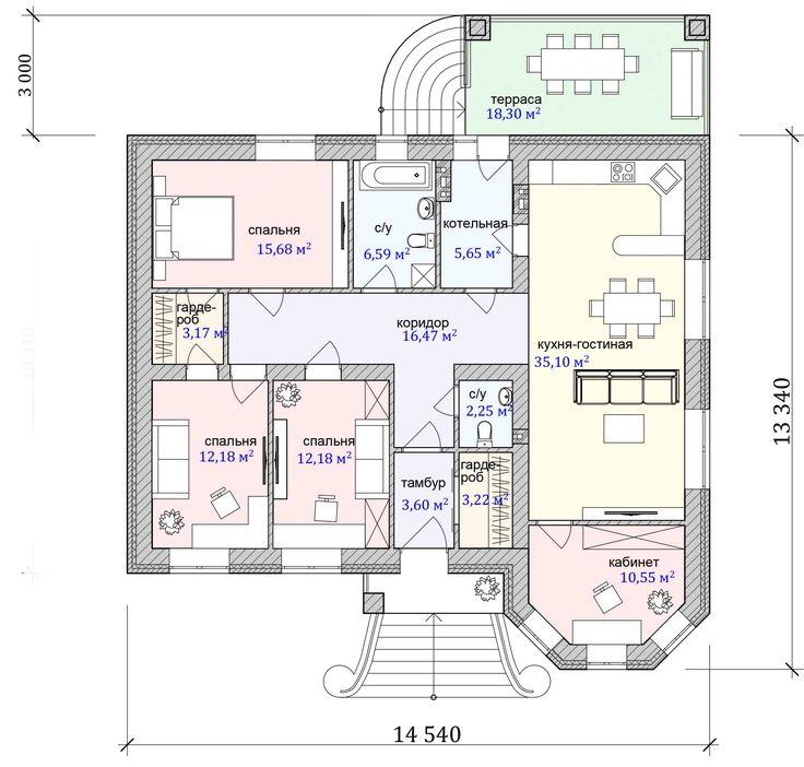 собственных план одноэтажного дома с тремя спальнями фото этой статье