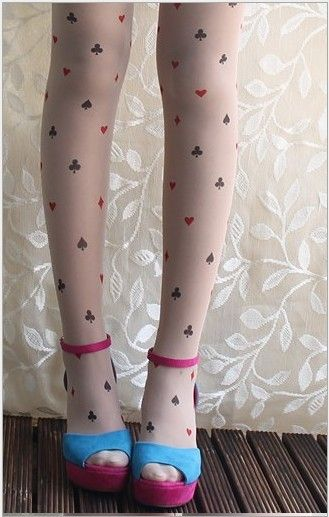 Princess harajuku style Sweet lolita pantyhose spunk romper Alice poker tattoo pantyhose for girls #Affiliate