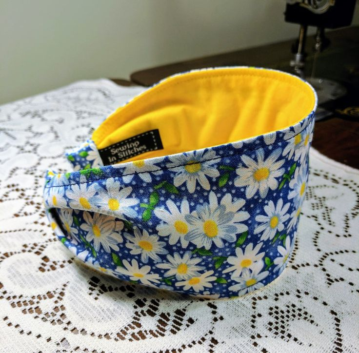 Daisy Headband, Wide Women's headband, Blue and Yellow Flower Headband, Bandanna Headband, Comfortable headband, Summer Headband,  Boho by ImSewingInStitches on Etsy