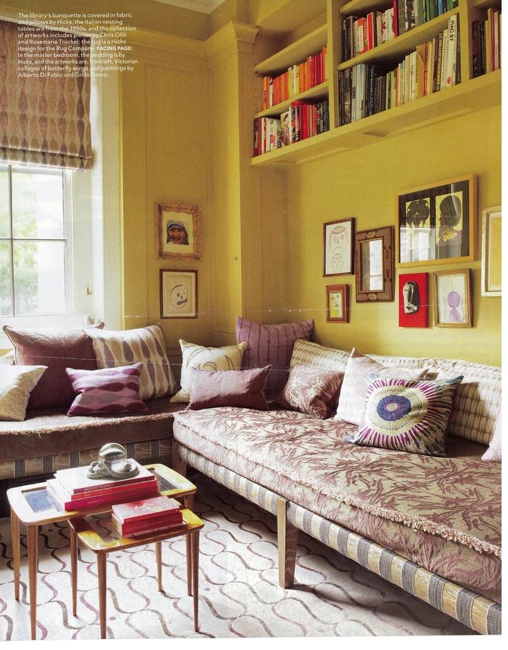 yellow bookshelves and light!