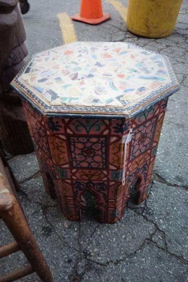 395 Vintage Morrocan Octogon Side Table Hand Painted
