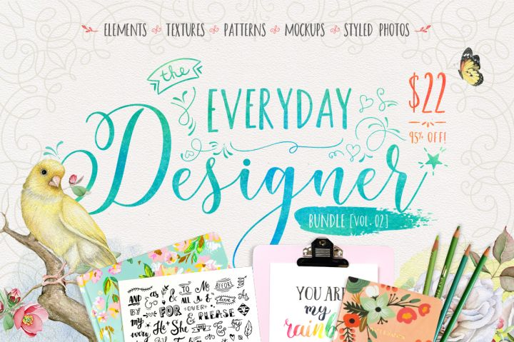 The Everyday Designer Bundle Vol. 02 By TheHungryJPEG. Elements, Textures, Patterns, Mockups, Styled Photos. Digital design goods for personal or commercial projects. Graphic design elements and resources.