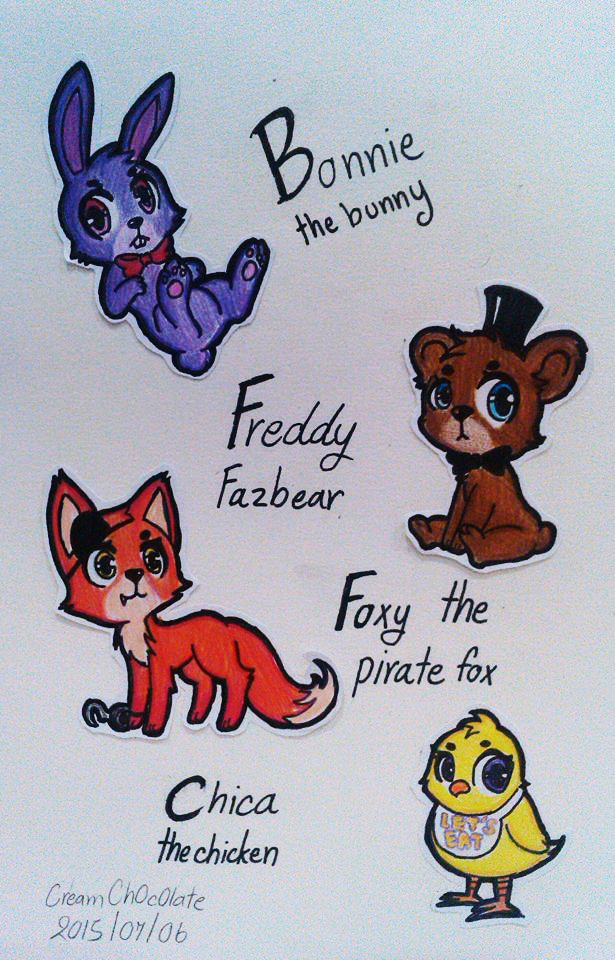 Bonnie the Bunny, Freddy Fazbear, Foxy the Pirate Fox, and Chica the Chicken from Five Nights at Freddy's
