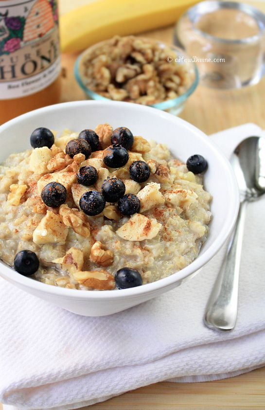 Quinoa + Oatmeal = Quinoatmeal from cHowDivine.com {Tastes like banana bread in a bowl.  NO sweetener necessary!}