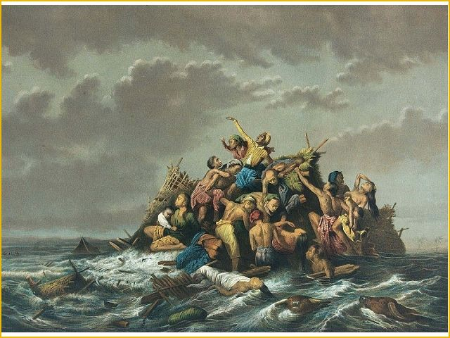 Raden Saleh, Een overstroming op Java, 1865. Look at this lithograph by Indonesian artist Saleh. Compare it to Géricault's work. What is similar? Why do you think Saleh depicted the flood in this way? Which one of the works, Saleh's or Géricault's is more compelling to you? Why?