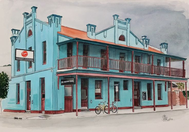 The Wheatsheaf Hotel, in Thebarton, South Australia. Watercolours and gouache, painted by Chelle Destefano
