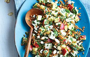 Wheat berries, gets, apple salad.