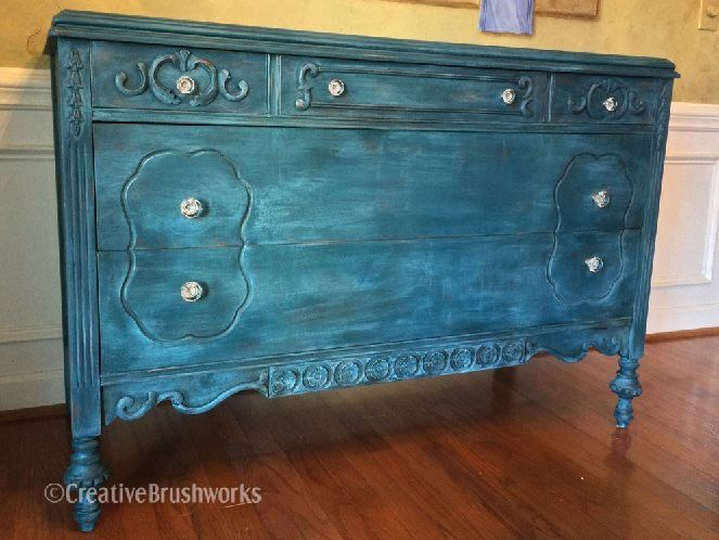 Vintage 1920s Dresser Updated With Paint Couture Peacock, Barbados Blue And  Glazed