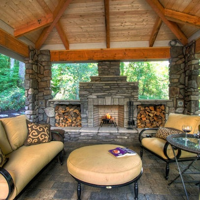 Stone Fireplace Veranda Wood Design Pictures