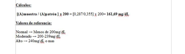 Cálculos y valores de referencia