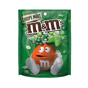 A box of 12 packs of M&Ms Crispy Mint Bags.