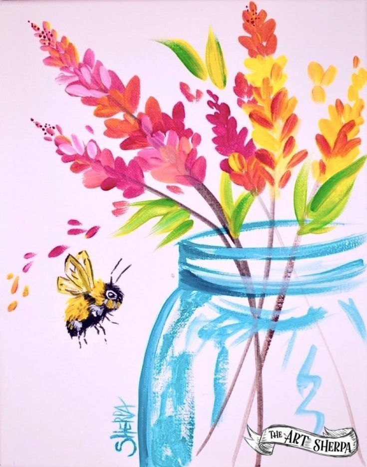 Simple Flower Jar Acrylic Painting Tutorial For Beginners Step By