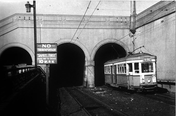Sydney R Class Tram coming out from Wynyard approaching the Sydney Harbour Bridge  1950s