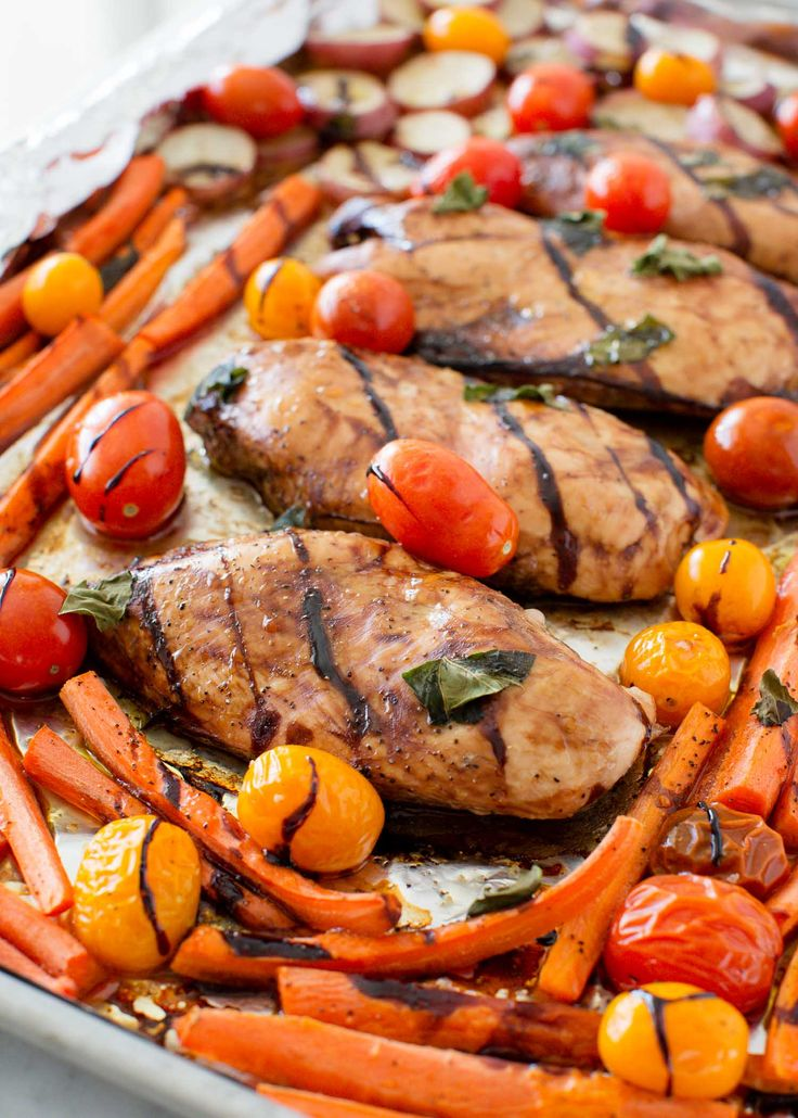 One Pan Balsamic Chicken and Veggies ...a healthy, EASY and delicious dinner recipe! A meal the whole family will love! This is one of our go-to recipes!