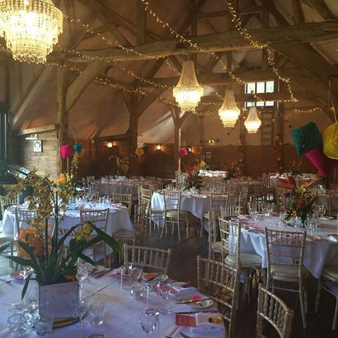 A chandelier in the barn is the perfect mix of rustic and classic.  #chandelier #wedding #venue #beautiful #colourscheme #colour #barn #modern #traditional
