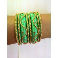 Silk Thread Bangle-green_balls_bangle