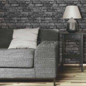 Fine Decor Rustic Brick Wallpaper in Black, Grey and Silver - FD31284