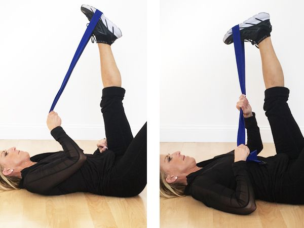 CALF STRETCH Lying on back, place strap over toe, pulling toe back gently. Extend your leg out in front of you, pulling your toe back gently. Gently pull strap to stretch your calf muscle. Hold stretch for 15-20 seconds, making sure to breathe. Stretches calf muscles and leg. Stretches hip, inner thigh, and groin.