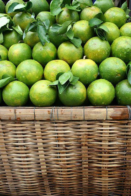 Limes. Fruit Basket.#Fruit Basket #Basket #Wicker Basket