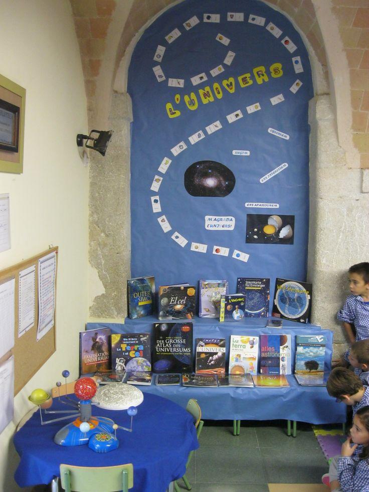 El racó de la lectura sobre l'Univers a l'escola de El Far d'Empordà.