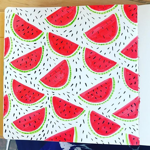 Dreaming of watermelon today while roasting at the market.... #tombow #markers #watermelons #patternlove #artjournal #artjournaleveryday