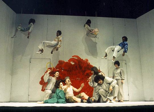 Peter Brook's A Midsummer Night's Dream (1970) Act 3 Scene 1 Photo: Reg Wilson © RSC In her bower, Titania entertains Bottom who has been transformed by Oberon to have the head of an ass. The lovers are sleeping, suspended above the stage on swings. Mary Rutherford/Hermia, Christopher Gable/Lysander, Frances De La Tour/Helena, Ben Kingsley/Demetrius, Sara Kestelman/Titania, David Waller/Bottom, Ralph Cotterill, John York, Hugh Keays Byrne, Celia Quicke as the Fairies