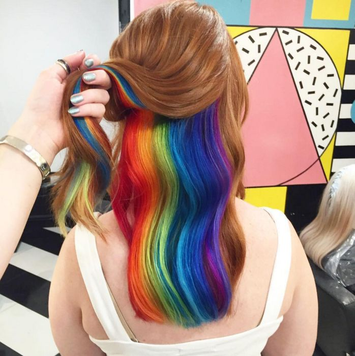 All things hair Pssst. hey, check out this girl's cool AF hidden-rainbow hair. This Hidden-Rainbow Hair Is Gonna Give You All Kinds Of Hair Goals Hidden Hair Color, Hair Color Dark, Cool Hair Color, Dark Hair, Hair Colour, White Hair, Hair Extensions For Short Hair, Rainbow Hair Extensions, Dyed Hair