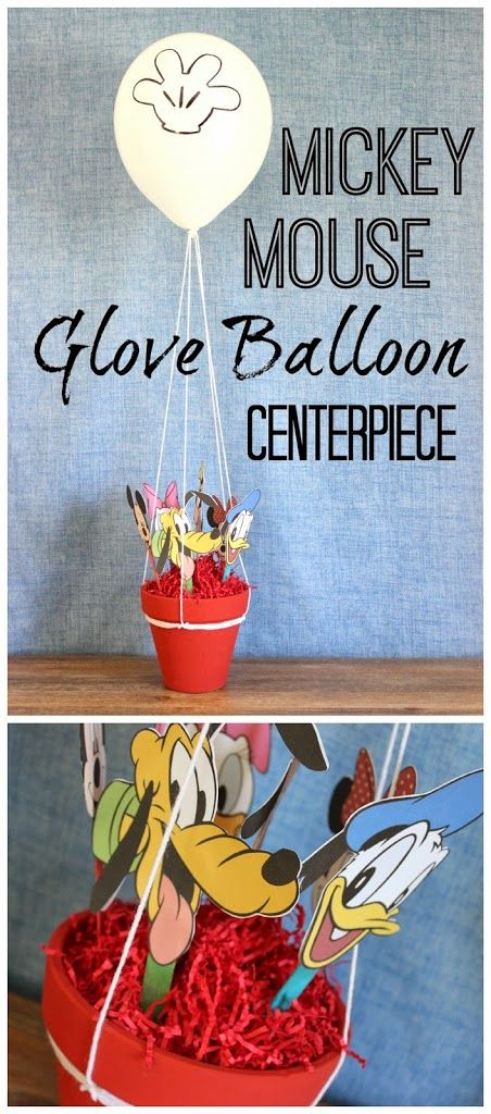 Mickey Mouse Clubhouse Glove Balloon Centerpiece. This is a really cute centerpiece that replicates all the Mickey Mouse Clubhouse friends inside the glove balloon.