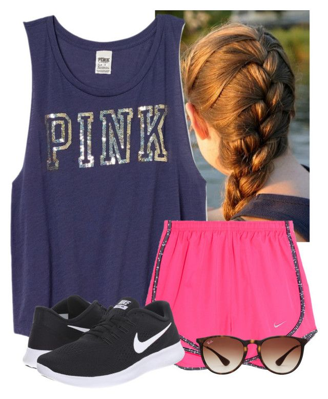"""""""Got these shorts yesterday from Dillard's"""" by flroasburn on Polyvore featuring Victoria's Secret PINK, NIKE and Ray-Ban"""