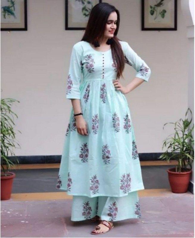 ba6a339539 Rutba Khan Beautiful Kurti Plazo With Printed | Salwar kameez ...