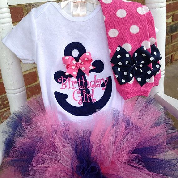 First Birthday Tutu Outfit  -- Anchor outfit -- pink and navy leg warmers, tutu and personalized onesie
