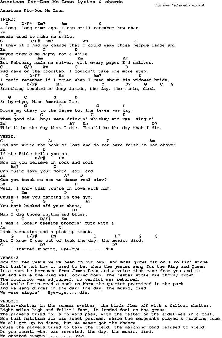 love song lyrics for american pie don mc lean with chords for ukulele guitar banjo etc. Black Bedroom Furniture Sets. Home Design Ideas
