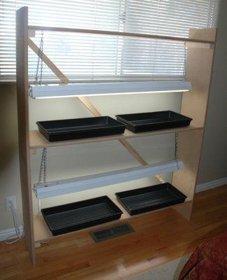 Seed starting rack tutorial i like that they pointed out for Indoor gardening made easy
