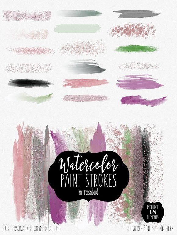Watercolor Brush Strokes Rosebud Watercolor Brushes Photoshop