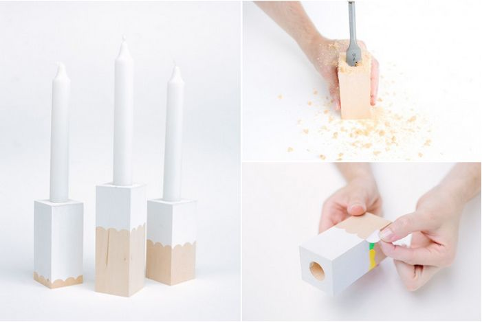 DIY block candlestick holders- maybe with a modern neon pink paint or heart?