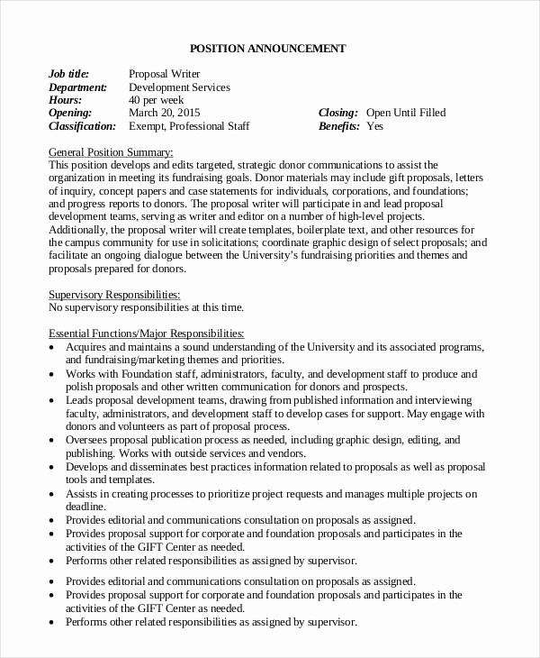 Job Position Proposal Template In 2020 Proposal Business