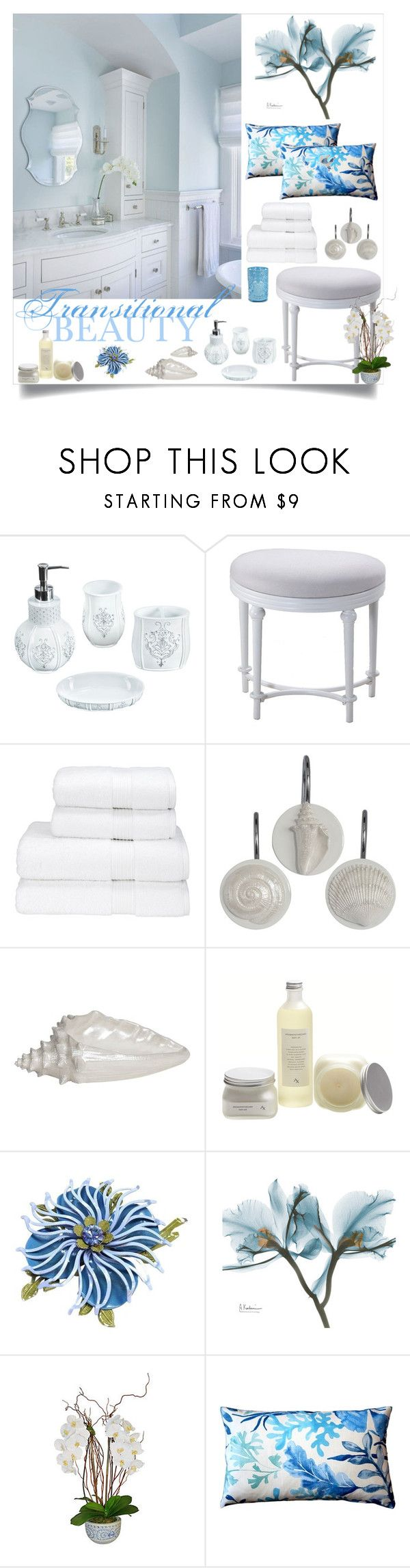 """""""Transitional Beauty"""" by loveartrecyclekardstock ❤ liked on Polyvore featuring interior, interiors, interior design, home, home decor, interior decorating, Hillsdale Furniture, Christy, Creative Bath Products and The French Bee"""