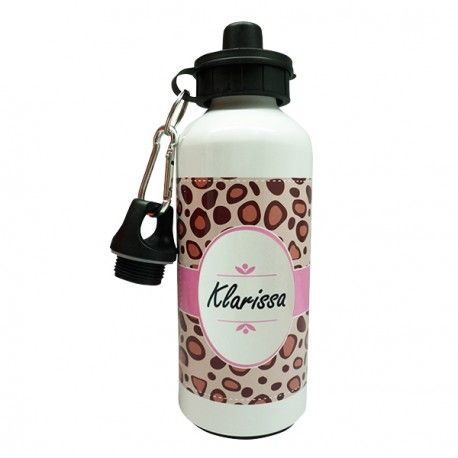 Sport Aluminium Bottle - Leopard  These bottles are durable and the black covers ensure the spout stays clean, making them ideal for outdoor fun, sports practice!  We custom personalize this stylish bottle with any name or any single, 2 or 3 initial in your choice.  Available in two sizes: Small (600 ml) and Large (750 ml).