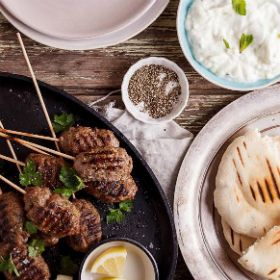 Beef Kofta with tzatziki and pita breads