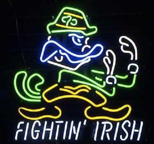 "Notre dame fighting irish neon light bar sign 20\"" x 18"
