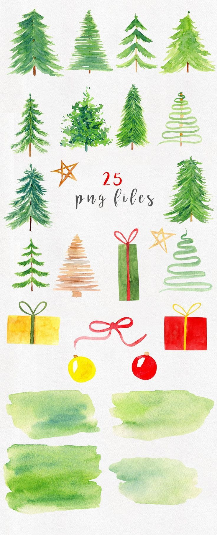 26 Watercolor Christmas Clipart Watercolor Christmas Trees Holiday Clip Art Decorations Green Clipart Greeting Watercolor Christmas Tree Christmas Watercolor Holiday Clipart
