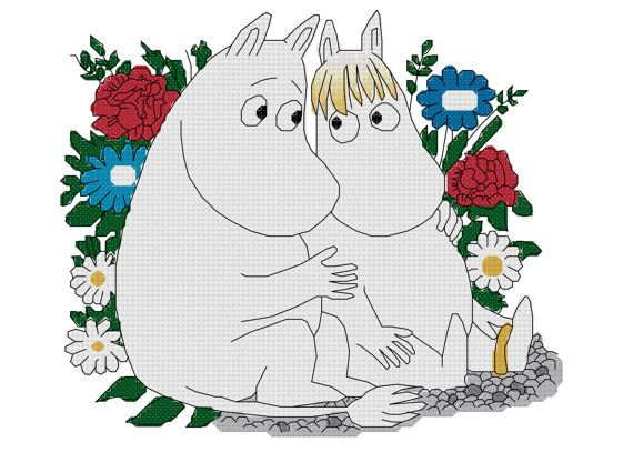Moomins Cross Stitch Pattern on Etsy, 33,80kr