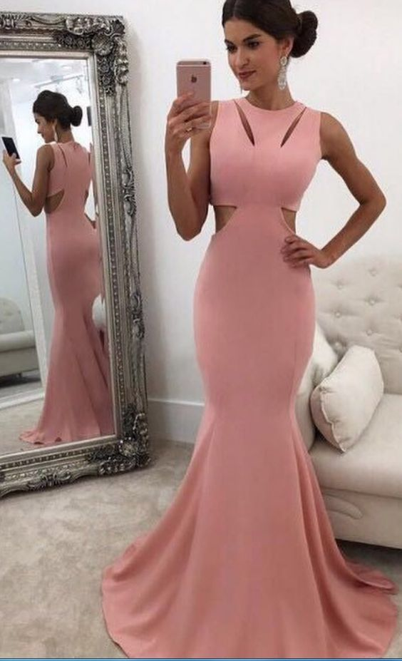 e84de23666a Classic Mermaid Round Neck Pink Prom Dress With Cut-Out